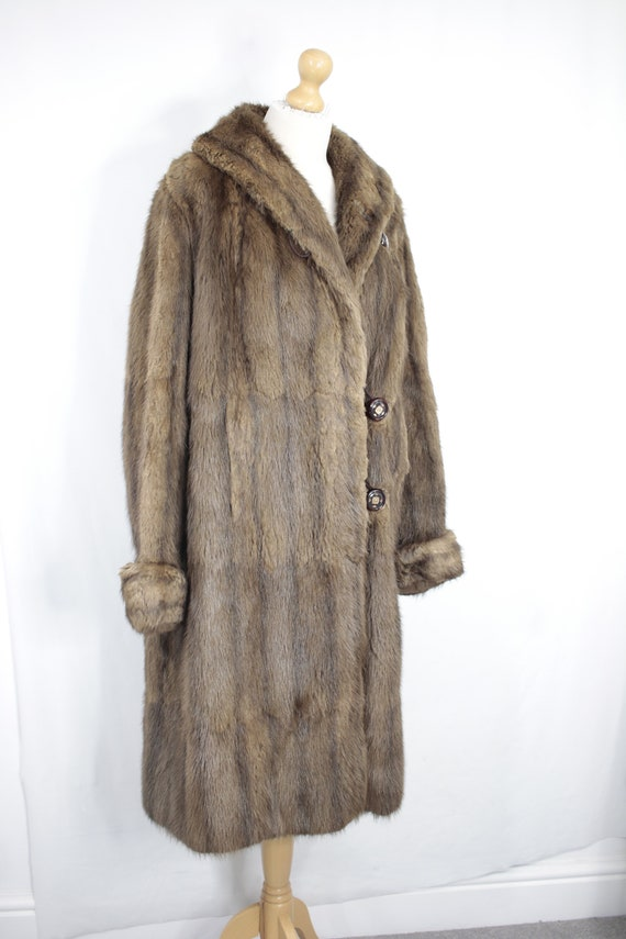 1950s-1960s brown musquash fur coat {Vintage fur … - image 3