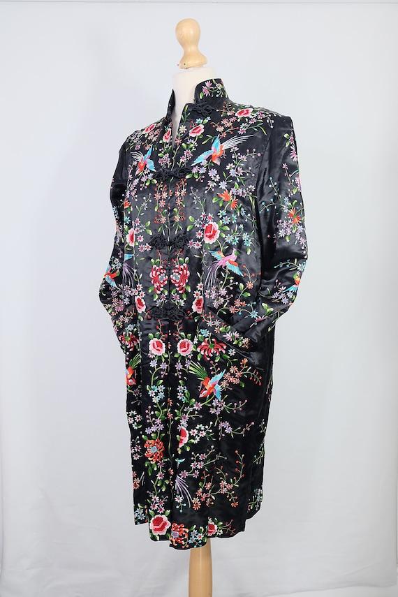 Vintage black embroidered coat {vintage embroider… - image 5