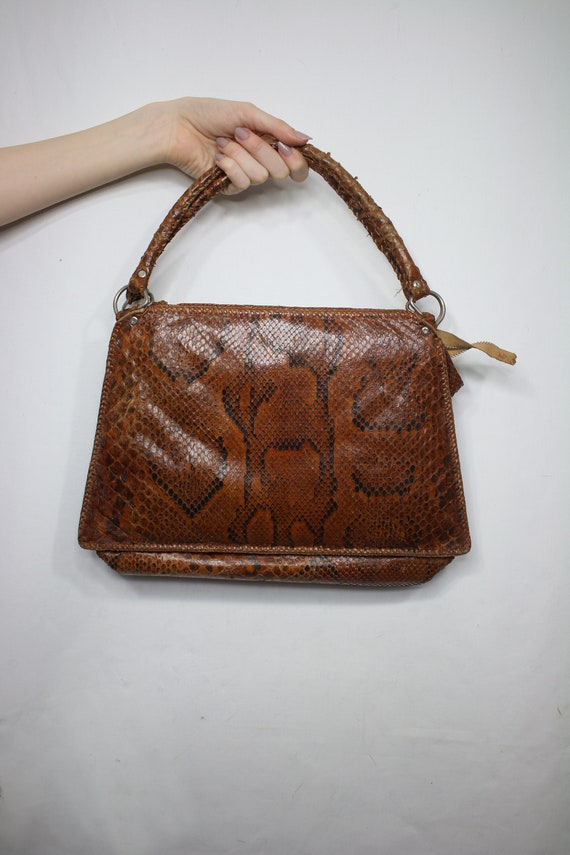 Vintage snakeskin bag/python skin bag. Vintage pu… - image 2