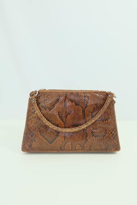Vintage snakeskin bag/python skin bag. Vintage pu… - image 7