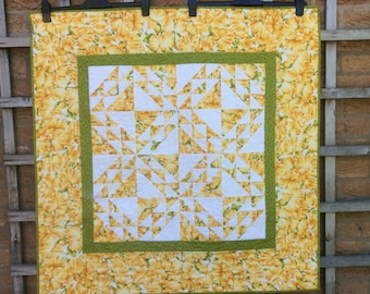 Yellow Handmade Table Topper.Flower Quilt.Gift.Throw.Small Quilt.Unique.Home Decor.Modern.Patchwork Tablecloth.