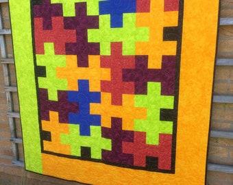 Jigsaw Quilt.Patchwork Quilt.Handmade Bright Quilt.Throw. Unique.Home Decor.Rainbow Colour.Yellow Quilt.Gift.