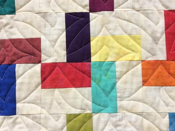 Modern Blue Handmade Quilt.Patchwork Quilt.Comforter.Scrap Quilt.Gift.Throw.Girl Quilt.Unique.Home decor.Quilts For Sale.Rainbow Quilt.