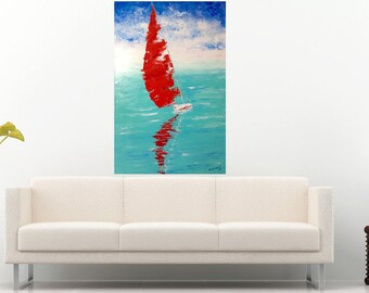 Wall art large boat Red sailboats on canvas Seascape Large size painting Oil art work Modern interior Painting for living room Office decor
