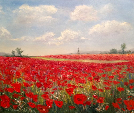 Poppies field painting Modern Impressionism Red poppy art ...