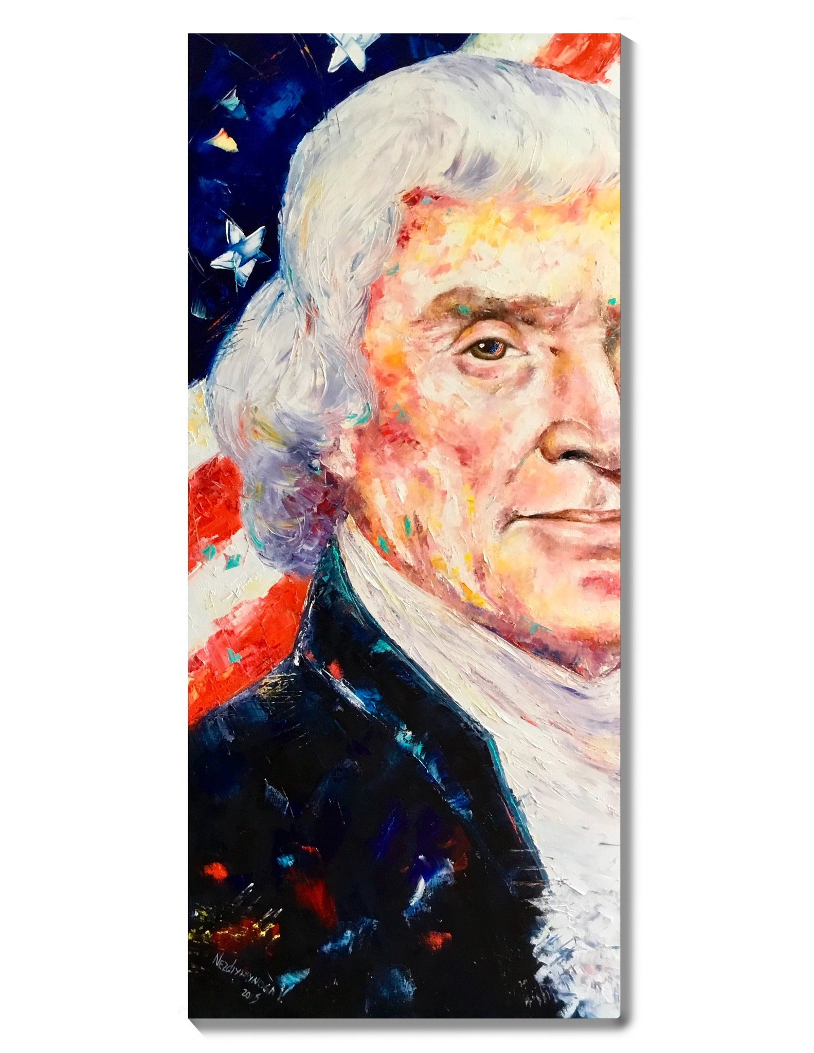 US FOUNDING FATHER /& PRESIDENT THOMAS JEFFERSON PAINTING ART REAL CANVAS PRINT