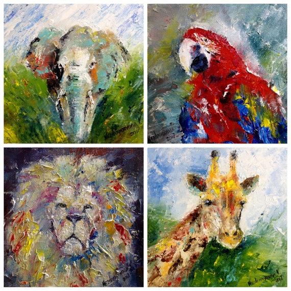 Magnifiek Afrikaanse dieren schilderijen kleine Wall Decor naar Kinder | Etsy @DR99