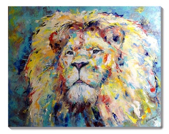 Lion painting large African animal art Colorful painting original Impressionism Wall art canvas Impasto painting Kids room decor Living room