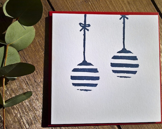 Lino cut baubles, mini cards pack of 4