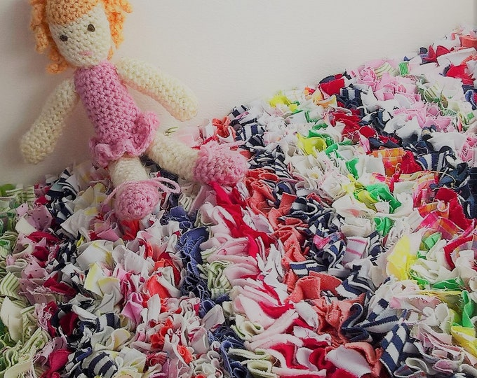 Bedside rag rug, proggy mat, custom made, re-cycled fabric, memory rag rug