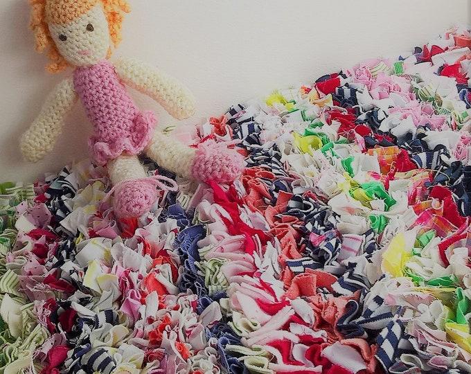 Bedside rag rug, proggy mat, custom made, re-cycled fabric, memory rag rug