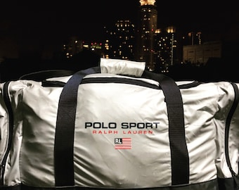 VTG Polo Sport by Ralph Lauren Big Silver Flag Spell Out Duffle Bag Thrifted  by 90s TPT 53f549514f9d5