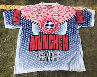1edda971fe6de2 VTG FC Bayern Munich Deutsche Meister 1993-1994 All Over Print T-Shirt  Thrifted by 90s TPT