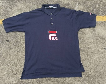 77c72fe22910b6 VTG 90s FILA Big Logo Polo Rugby Shirt Thrifted by 90s TPT