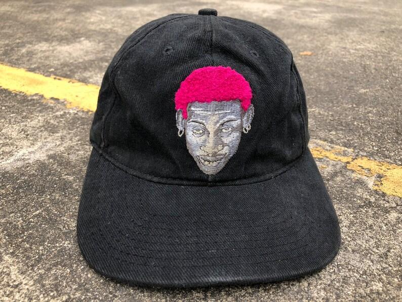 2a1e75024ae05 VTG NIKE Dennis Rodman Pink Hair Snapback Cap 90s Thrifted by