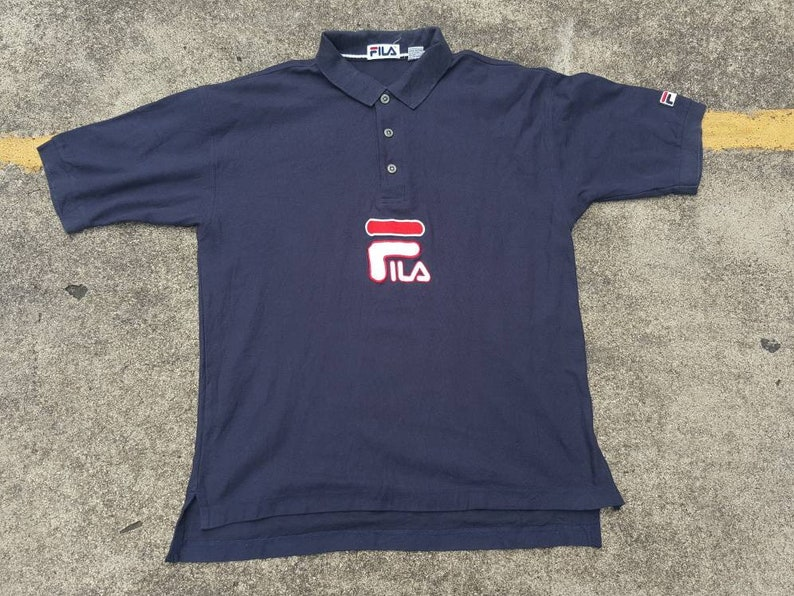 192d123e VTG 90s FILA Big Logo Polo Rugby Shirt Thrifted by 90s_TPT | Etsy