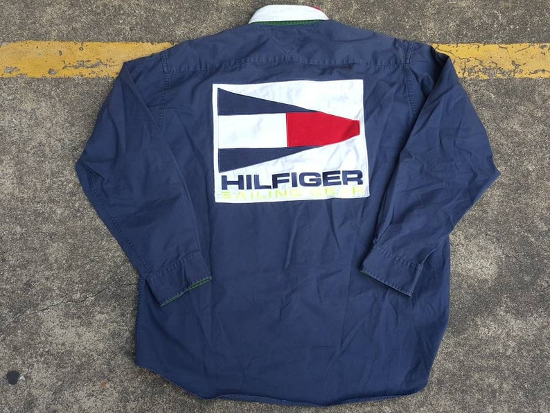 c0478c5b1 VTG Tommy Hilfiger USA Sailing Gear Colour Block Big Logo Spell Out Shirt  Thrifted by 90s_TPT