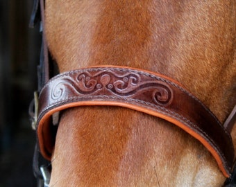 Handmade artisan Repousse horse bridle noseband
