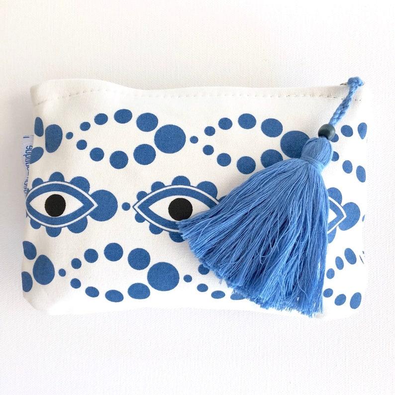 Teacher Gift Good Luck Gift College Student Gift Toiletries Resort Wear Evil Eye Pouch Bikini Bag Beach Bag Boho Bag