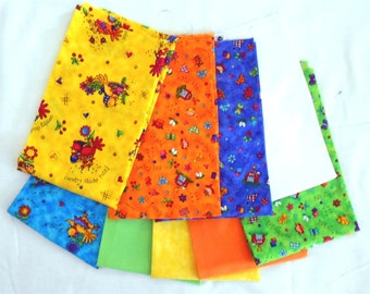 Bright Country Chicks/Farm Kids Fabric Fat Quarter Bundle 9pc. -yellow/blue/green/white/orange (#O112)