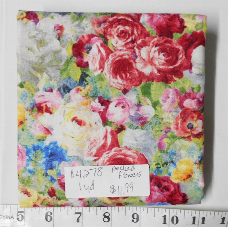 Fabric-1yd piece 4278-Flower Market/PACKED FLOWERS/Danhui image 0