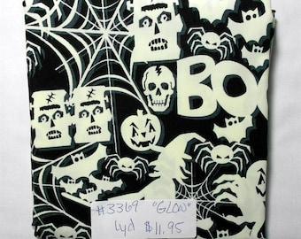 Fabric -1yd piece- GLOW-in-the-DARK Halloween fabric/Frankenstein, skeleton, spider, witch,Boo (#3369) Timeless Treasures fun-cg3540