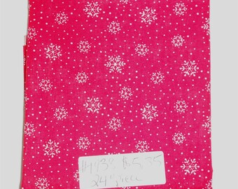 """Fabric - 24"""" piece-Christmas/Xmas/Winter-White Sowflakes/Snow/Dots on Red Background (#1938)"""