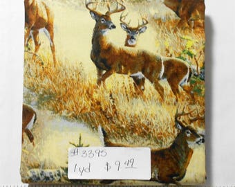 Fabric - 1yd piece-Walnut Grove -White Tailed Deer Scenic/Buck/Hunting/Wildlife/Outdoors/tan/cream/yellow/grass/trees (#3395) Wild Wings