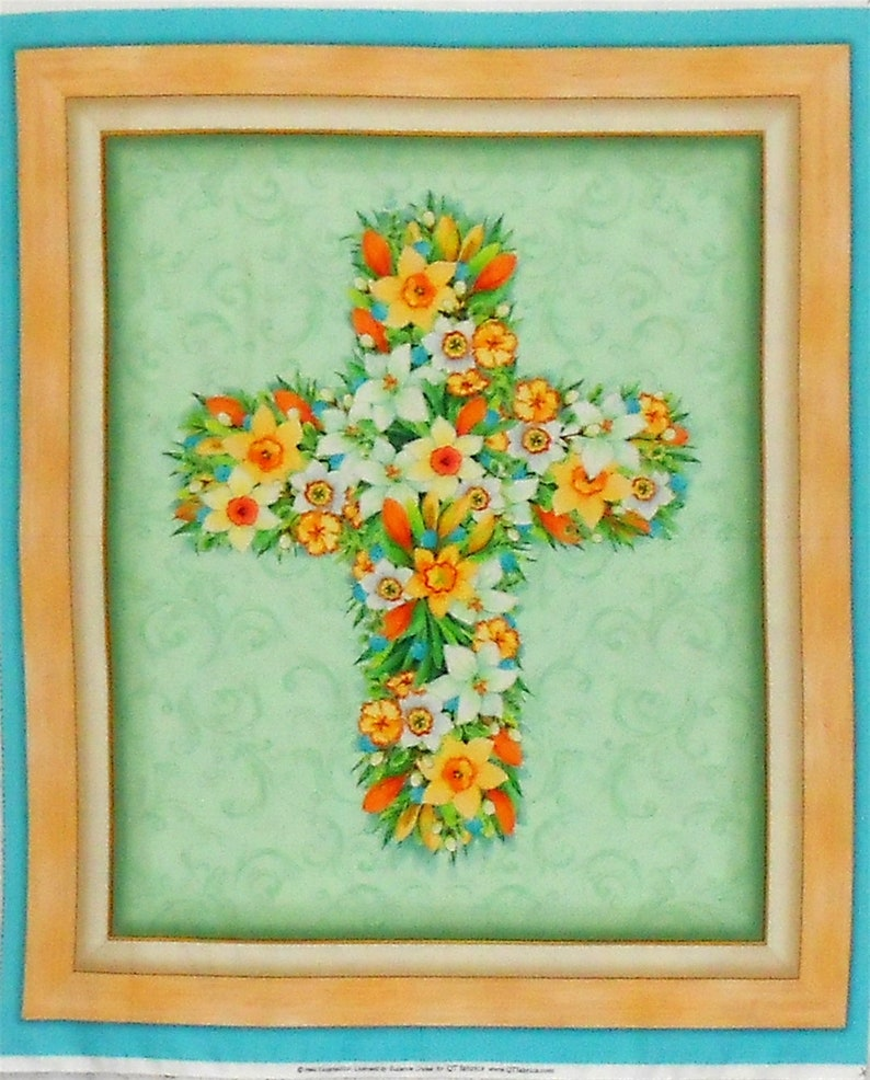 Easter Cross Floral Fabric Panel-Easter image 0