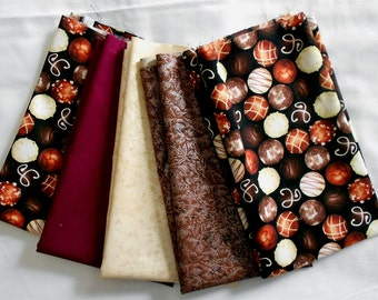 Fabric-Chocolates/Valentine Fat Quarter Bundle 5pc-Sepia Fairy Frost/Champagne Frost/solid kona bordeaux (wine/purple/red tone) (#O166)
