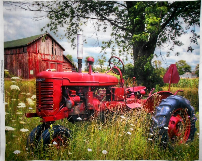 Fabric Panel-Red Vintage/Antique Tractor & Wood Barn/Digital image 0