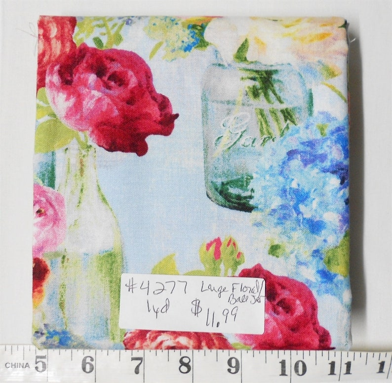 Fabric-1yd piece 4277-Flower Market/Large Flowers and ball image 0