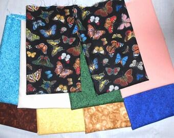 Butterflies/Small Butterfly Fabric 10pc. Fat Quarter Bundle-green/blue/royal/ivory/chocolate/tan/peach/yellow tones (#O30)