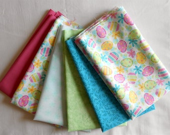 Fat Quarter Bundle 6pc.- Easter Egg/Floral Fabric/bright/teal/mint/yellow/pink/pastel/bright/vine/solid kona (#O217)