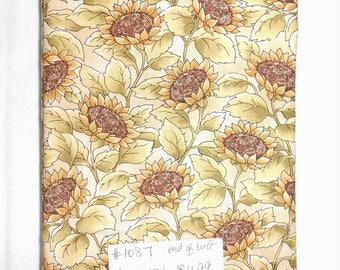 Fabric - 1.34yd piece- Sunflowers/packed sunflowers/light green/yellow/brown (#1087) Fall Floral Fabric/1627 Old as Thyme / Maywood Studio