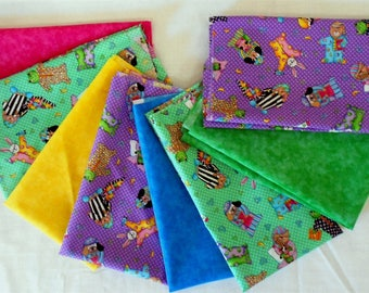 Fabric-8pc. Fat Quarter Bundle Bedtime/Nightie/pink/blue/yellow/green/bedtime blanket/bunnies/bears/cats/dogs/frogs/books/toothbrush (#O230)