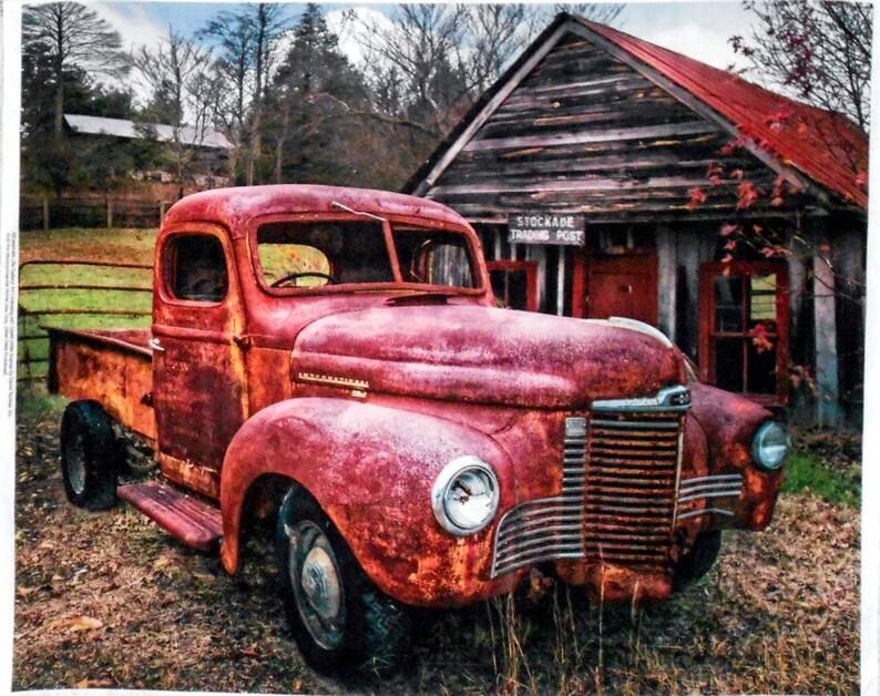 Fabric Panel Red Vintage/Antique Truck/International/Wood image 0