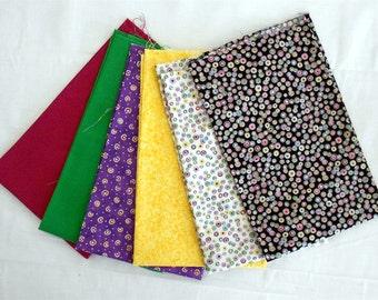 Metallic Dots/Spots/Blender/Solid Fabric Fat Quarter Bundle 6pc. -yellow/green/white/black/purple (#O119)