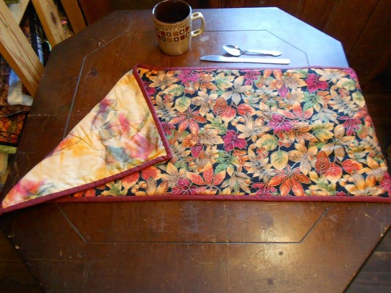 Reversible Metallic FallAutumn Leaves Table Runner 13 x 35 Batik back machine quilted leaves peachgreenredgold
