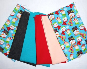 Christmas/Winter Fabric Fat Quarter Bundle 6pc. Snowmen Heads/Snowflakes/scarves/hats/pink/lime green/peach/red/teal/black (#O40)