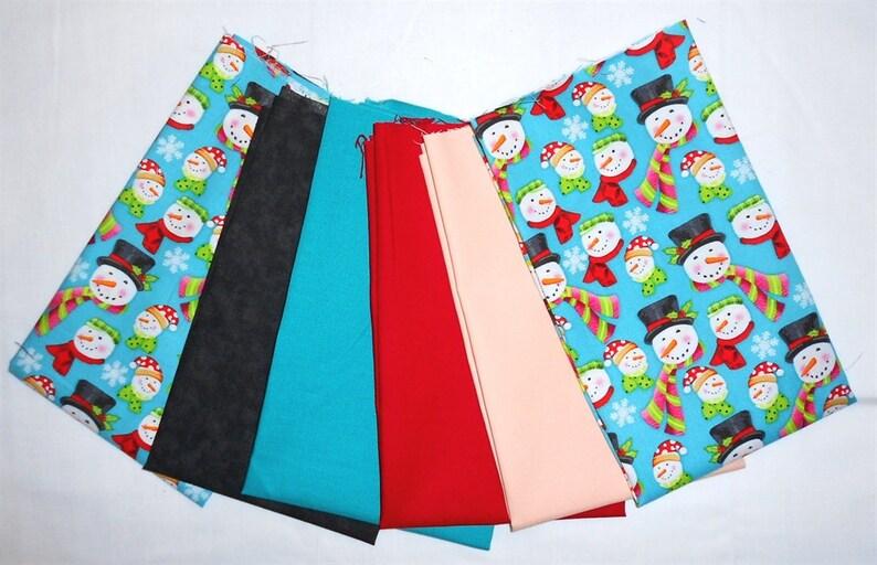 ChristmasWinter Fabric Fat Quarter Bundle 6pc Snowmen HeadsSnowflakesscarveshatspinklime greenpeachredtealblack #O40