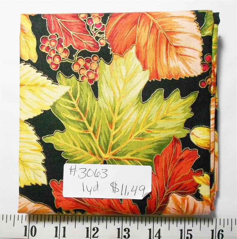 1yd piece- Harvest BreezeLargePackedFall leavesmetallicAcornsPineconesbrowngreenredrustorangepeach Red Rooster Fabric #3063