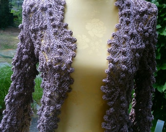 Bolero, short jacket, light brown, Gr. 36-38 (S-m); great pattern mix