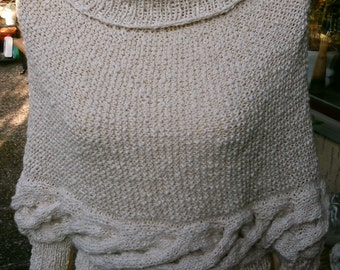 Wedding knitted poncho sweater, natural white, size 36-38,S, Uk 10-12, US 8-10