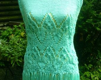 Knit long top, blue-green, Gr. 38-40 (M), love + fringes
