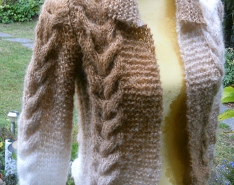 Brown white cardigan sweater, Gr. 36-38 (S M), with mohair