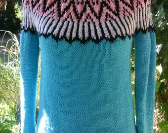 Knitted sweater light blue with Jacquardpasse, Gr. 36-38(S-M)