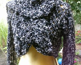 Knit Bolero, size 36-38 (S M), with short scarf, black-silver