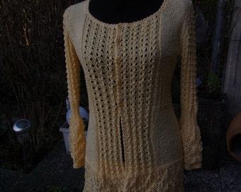 Ajour-knit jacket yellow, Gr. 40-42 (M-L), yellow