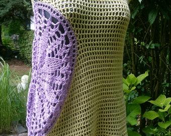 Crochet tunic with rosette, yellow + purple, Gr. 38 (S), UK 12, US 10